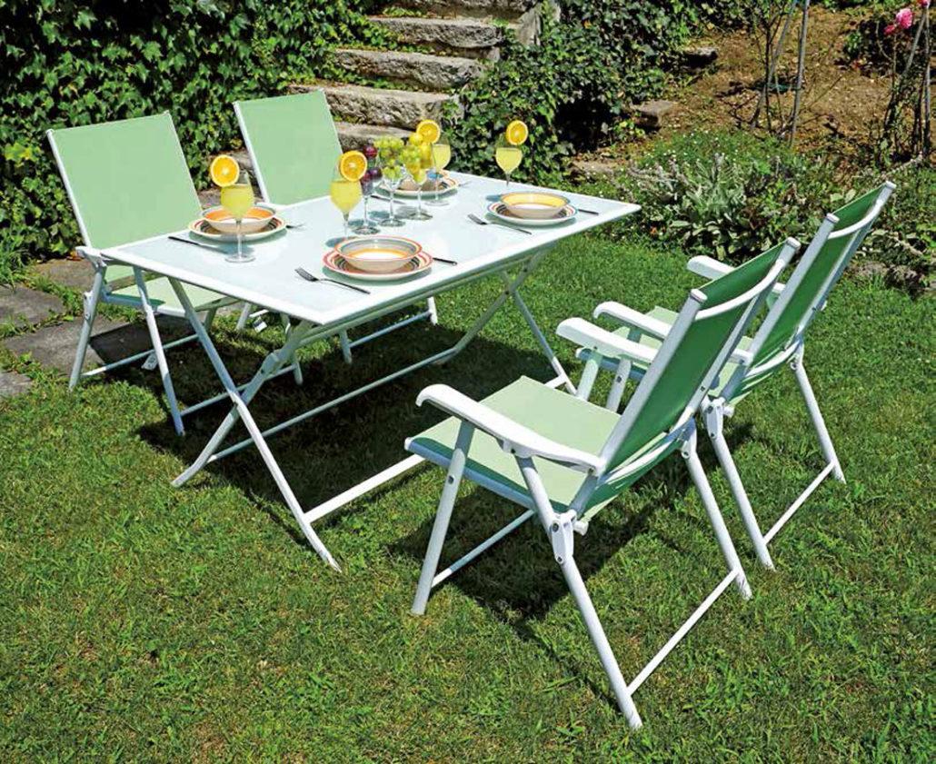 Sedia polignano con braccioli pieghevole in ferro bianco for Verdino arredo giardino