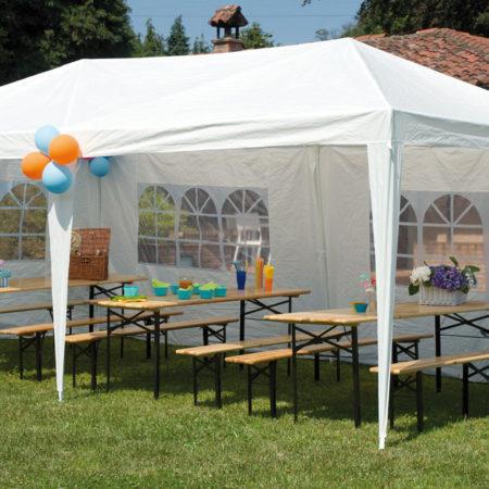 Set birreria tavolo 220x80 e 2 panche 220x25 cm con tre for Set birreria offerta